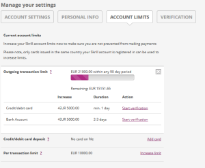 Skrill Verification Account Limits