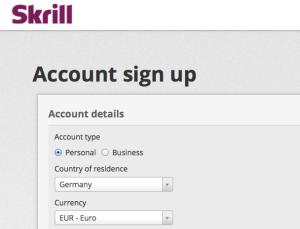 Skrill register
