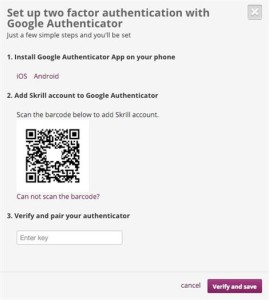 Skrill Two-Factor Authentication