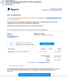 PayPal phishing email