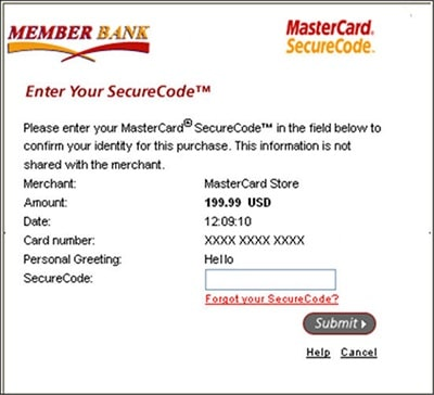 ecoPayz MasterCard Security - SecureCode Form