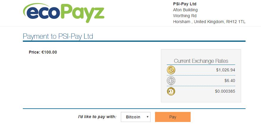 Bitcoin - ecoPayz
