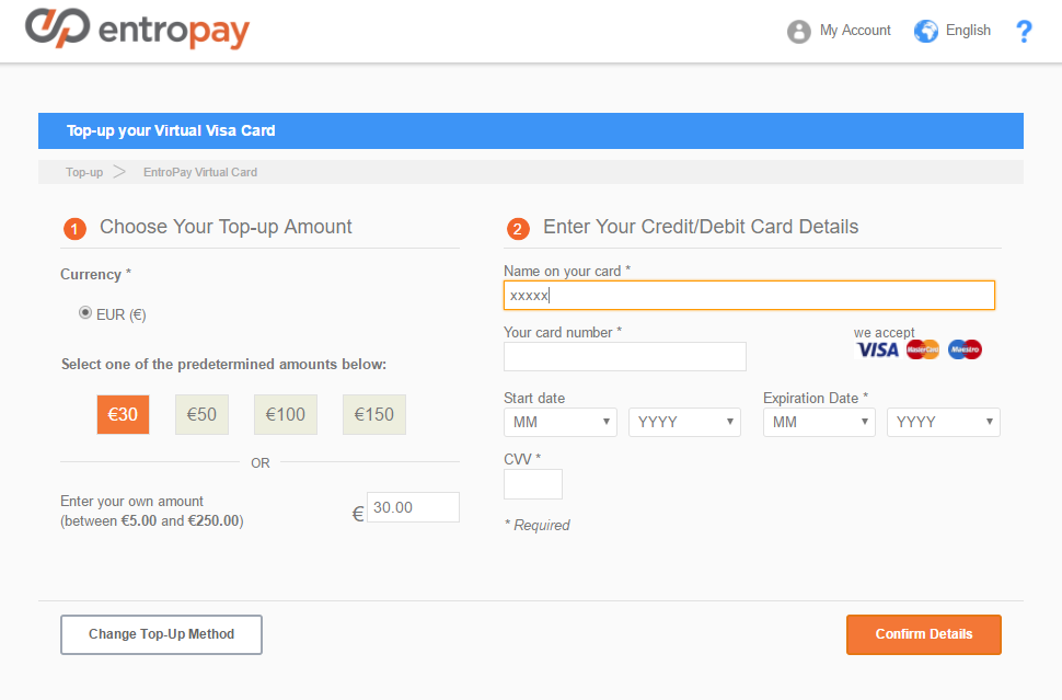 Entropay Review - Topup Credit Card