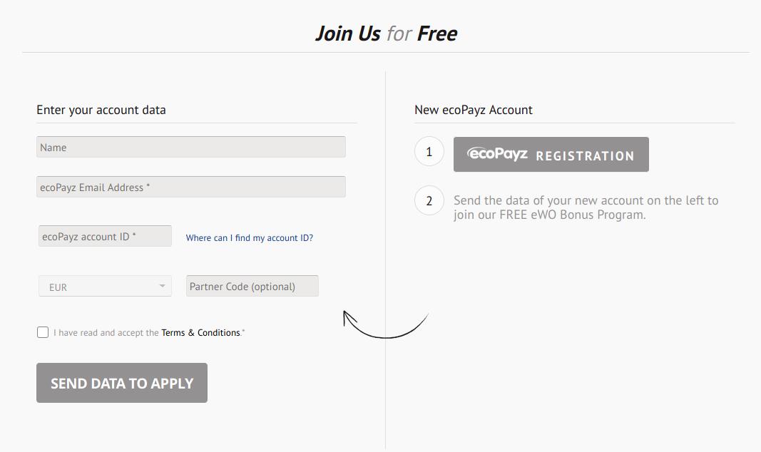 ecoPayz eWO Sign-up