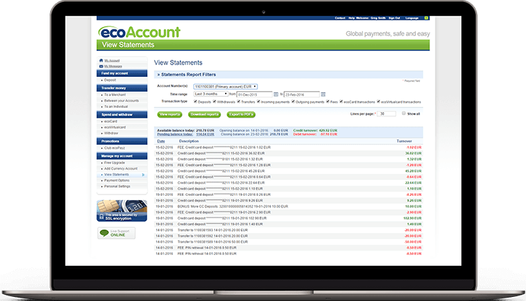 ecoPayz for Merchants - Business account