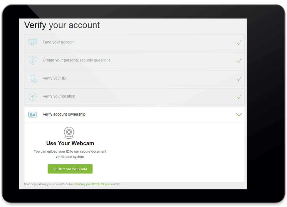 NETELLER verification with iPad